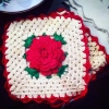 Superstar Universe, LLC Vintage 1950s Handmade Crochet Red Rose Hot Pads Potholders WITH FREE SHIPPING