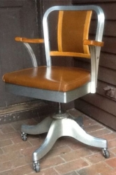 Vintage Shaw Walker Aluminum/ Wood Mid Century Propeller Desk Chair