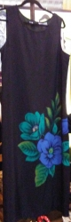 Superstar Universe, LLC Sag Harbor Long Sleeveless Black SEXY DRESS WITH BLUE FLOWERS WITH FREE SHIPPING