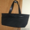 Superstar Universe, LLC Large 19in Plain Black Laptop Canvas Bag/Purse with Faux Snakeskin Styled Strap
